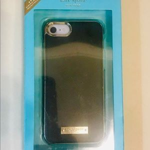Kate Spade Black Gold iPhone 7 Leather Wrap Case
